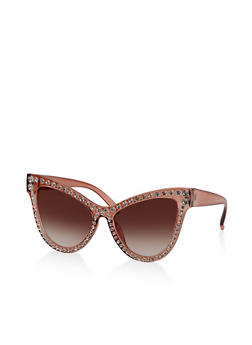Plastic Rhinestone Cat Eye Sunglasses - 3133073210100