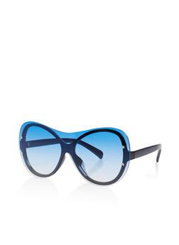 Rimless Colored Shield Sunglasses - 3133073212224