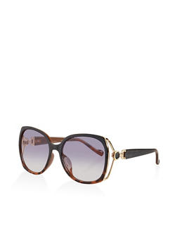 Metallic Side Cut Out Sunglasses - 3133073213780