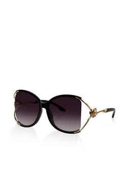 Metallic Rose Detail Cut Out Sunglasses - 3133073214447