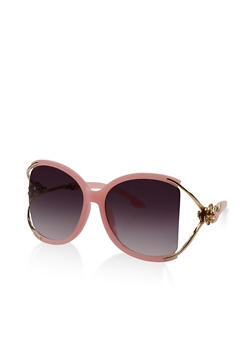 Metallic Rose Detail Cut Out Sunglasses - 3133073214447