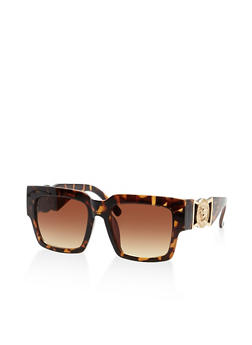 Medallion Accent Plastic Square Sunglasses - 3133073214559