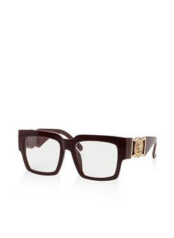 Medallion Accent Plastic Square Sunglasses - 3133073214559