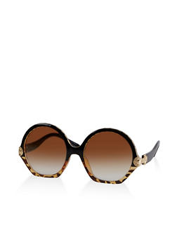 Metallic Shamrock Detail Sunglasses - 3133073216299