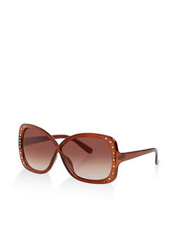 Rhinestone Criss Cross Sunglasses - 3133073216974