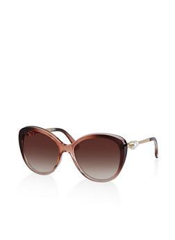 Faux Pearl Arm Detail Sunglasses - 3133073217840