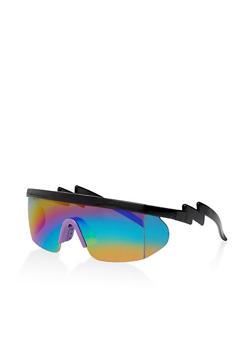 Lightning Bolt Arm Shield Sunglasses - 3133073217874