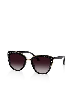 Rhinestone Cat Eye Sunglasses - 3133073218529
