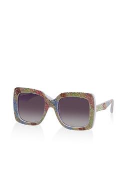 Square Glitter Frame Sunglasses - 3133073218712