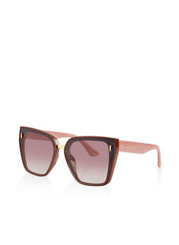 Textured Trim Flat Sunglasses - 3133073218794