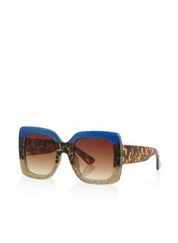Glitter Square Plastic Sunglasses - 3133073219811