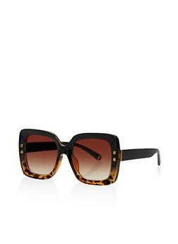 Large Studded Square Plastic Sunglasses - 3133073924484