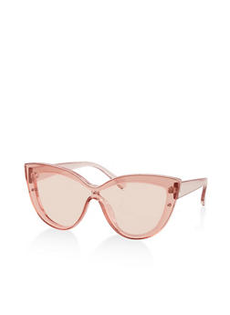 Colored Cat Eye Shield Sunglasses - 3134004265214