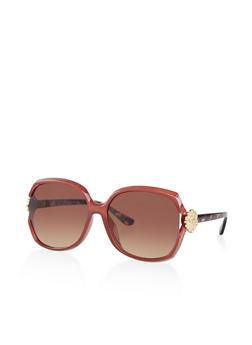 Metallic Flower Detail Sunglasses - 3134004265225