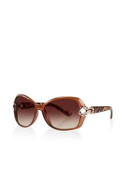 Plastic Rhinestone Link Detail Sunglasses - 3134004265365
