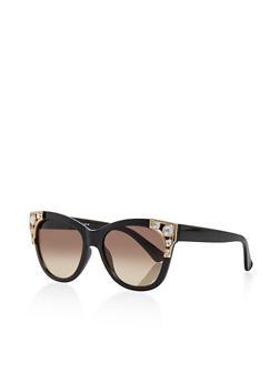 Rhinestone Cat Eye Sunglasses - 3134004265537