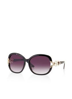 Metallic Link Detail Plastic Sunglasses - 3134004265566