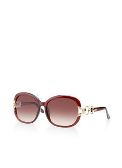 Metallic Link Detail Plastic Sunglasses - 3134004265566
