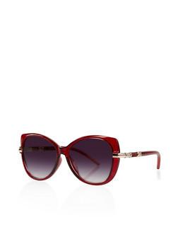 Metallic Temple Detail Sunglasses - 3134004265966