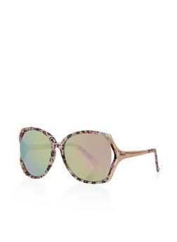 Large Mirrored Metallic Sunglasses - 3134004269196