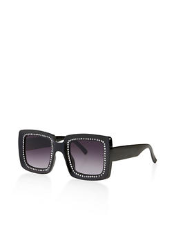 Rhinestone Studded Square Sunglasses - 3134056177559