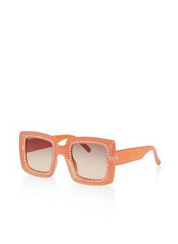 Rhinestone Studded Square Sunglasses - 3134056177559