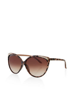 Cat Eye Metallic Corner Sunglasses - 3134056177772