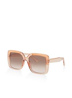Metallic Corner Square Sunglasses - 3134056177803