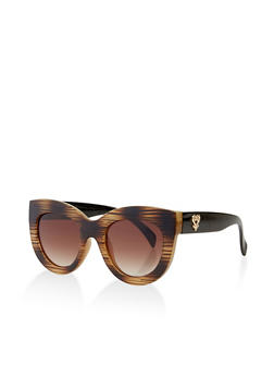 Two Tone Cat Eye Plastic Sunglasses - 3134056179173