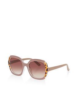 Printed Trim Plastic Sunglasses - 3134056179175