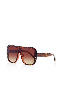 Rhinestone Studded Shield Sunglasses - 3134071210967