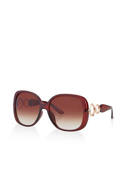 Geometric Rhinestone Detail Sunglasses - 3134071212012