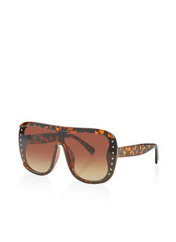 Studded Shield Plastic Sunglasses - 3134071219664