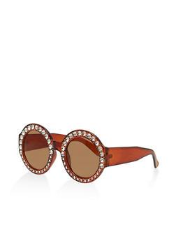 Rhinestone Circular Sunglasses - 3134071219973