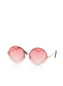 Metallic Heart Round Colored Sunglasses - 3134073920155