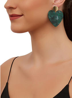 Marbled Plastic Heart Drop Earrings - 3135003202809