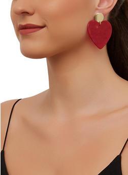 Marbled Plastic Heart Drop Earrings - 3135003202809
