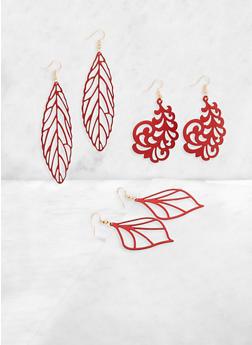Filigree Leaf Earring Trio - 3135003202814