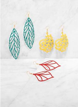 Painted Leaf Drop Earring Trio - 3135003202815