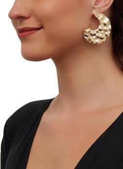 Hammered Metallic Crescent Moon Earrings - 3135003202818