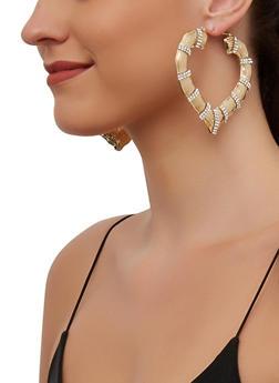 Metallic Heart Bamboo Hoop Earrings - 3135003202823