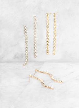 Rhinestone Linear Earring Trio - 3135003202826