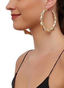 Rhinestone Metallic Bamboo Hoop Earrings - 3135003202829