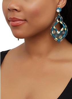 Multi Color Laser Cut Wooden Earrings - 3135003203652
