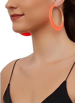 Neon Trim Hoop Earrings - 3135003204440