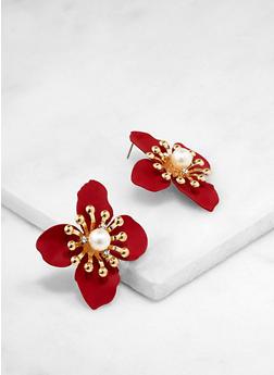 Faux Pearl Flower Earrings - 3135003208055