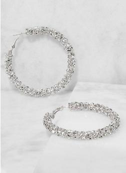 Rhinestone Hoop Earrings - 3135029360035