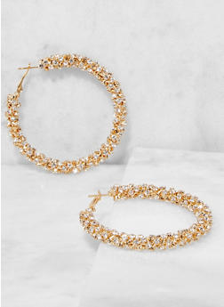 Rhinestone Hoop Earrings - 3135029360035