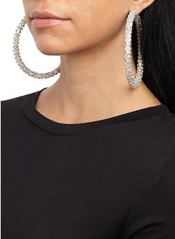 Oversized Rhinestone Hoop Earrings - 3135029360720