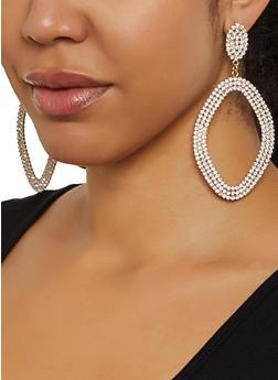Rhinestone Oval Drop Earrings - 3135029361105